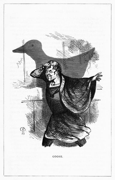 'Goose'. (Corhurnus Mandeville - The Eminent Tragedian). Illustration from a series of shadow portraits of fictional characters by Charles H Bennett entitled Shadow and Substance, 1860