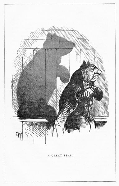 'A Great Bear'. A bearish portrait. Illustration from a series of shadow portraits of fictional characters by Charles H Bennett entitled Shadow and Substance, 1860