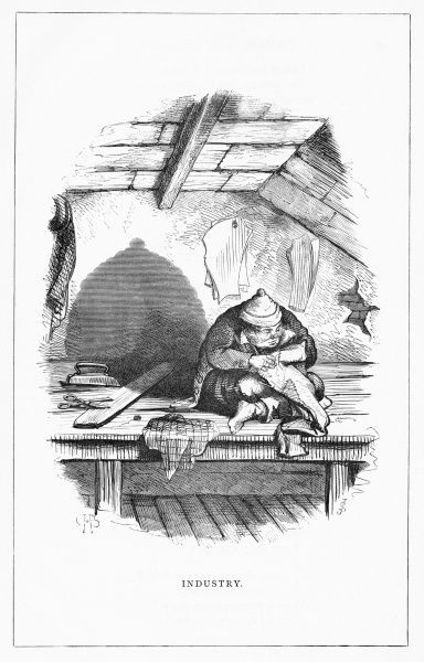 'Industry'. A hard working man sits busily stitching fabrics and casts a shadow of a bee hive. Illustration from a series of shadow portraits of fictional characters by Charles H Bennett entitled Shadow and Substance, 1860