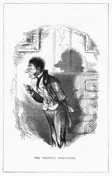 'The fretful porcupine' (H. Riley Thornback Esq.) Illustration from a series of shadow portraits of fictional characters by Charles H Bennett entitled Shadow and Substance, 1860