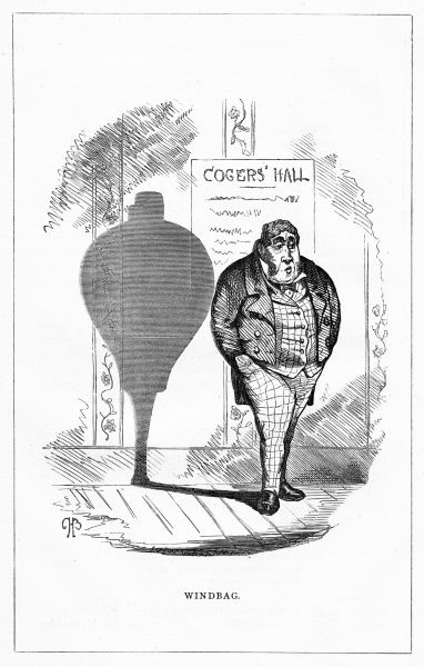 'Windbag'. (Boanerges Mowther, Esq.) His rotund body and slim legs casting the perfect shadow of a pair of bellows. Illustration from a series of shadow portraits of fictional characters by Charles H Bennett entitled Shadow and Substance