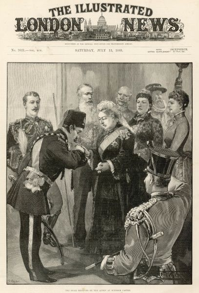 The arrival of his Majesty Nasr-ed-din, the Shah of Persia on his second visit to England, kissing the hand of the Queen