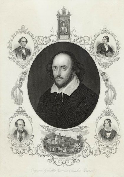 WILLIAM SHAKESPEARE English playwright and poet. Oval portrait surrounded by portraits and vignettes
