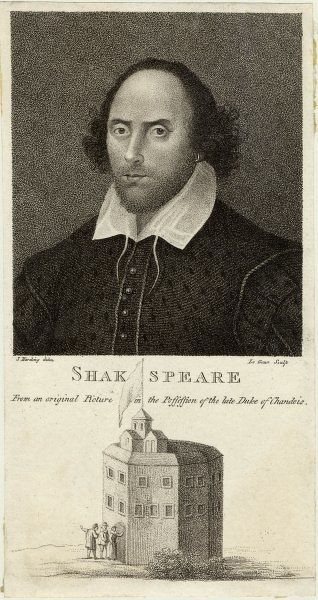 WILLIAM SHAKESPEARE English playwright and poet. Rectangular portrait with a view of the Globe Theatre underneath