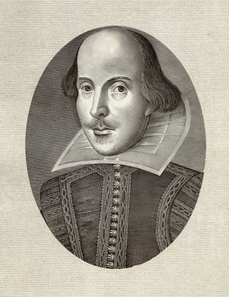 WILLIAM SHAKESPEARE English playwright and poet. Oval portrait