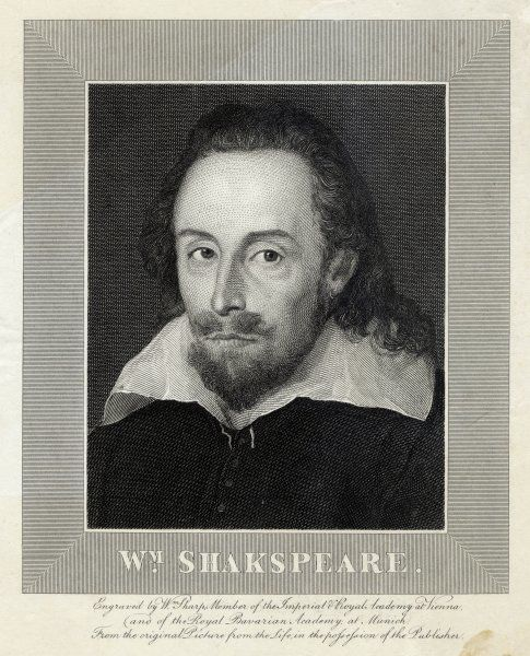 WILLIAM SHAKESPEARE English playwright and poet. Rectangular portrait