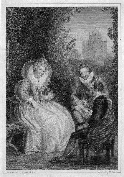 SHAKESPEARE Playwright and poet. Shakespeare's interview with Queen Elizabeth I in a garden