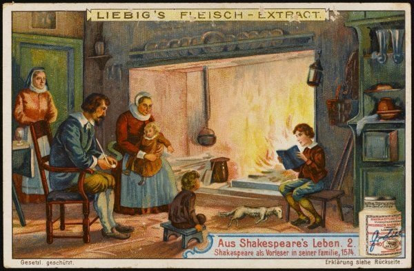A precocious and voracius reader, young William reads aloud to his family in their Stratford home