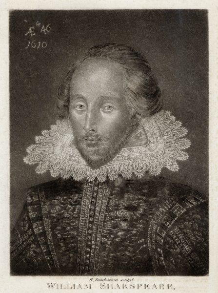 WILLIAM SHAKESPEARE Playwright and poet. Rectangular portrait