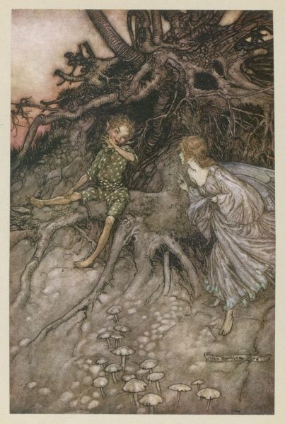 "Act II, Scene I Puck & a fairy; Puck admits that he is ""that merry wanderer of the night."" Date: 1908"