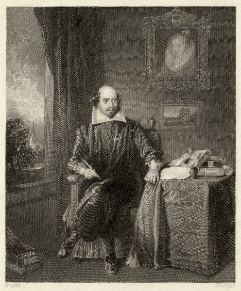 WILLIAM SHAKESPEARE Playwright and poet. Sitting in a chair with a quill pen in his hand