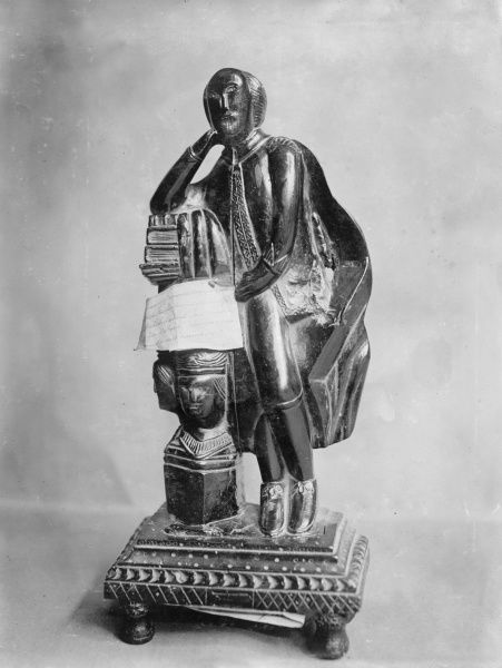 A Shakespeare statuette made of mulberry wood, 15 inches high, believed to be early 17th century