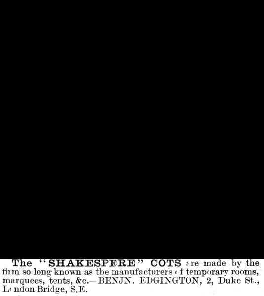 Advertisement for the Shakespere cot, a light, portable childs bed. Ad shows baby in a cot pulling a cats tail