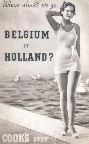 Cover photograph for Thomas Cook's brochure, Where shall we go -- Belgium or Holland. A young woman stands seductively in a swimsuit and sandals at the side of swimming pool where six people are swimming
