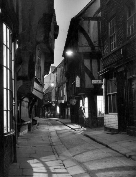 THE SHAMBLES Often called Europe's best preserved Medieval street; mentioned in the Doomsday book, York, England. Date: 1950s