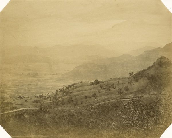 Shebee Hill; cart-road along railway; Concan below; Matheran Hill in the distance; at 10 1/2 miles Date: 1856