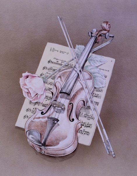 A violin and bow, with a pink rose and a sheet of music