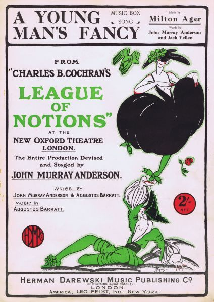 Sheet music for A Young Mans Fancy, from A League of Notions, London, 1922. Artwork by James Reynolds. Date: 1922