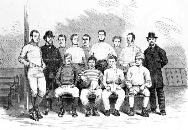 Engraving of the Sheffield Football Club team, seen at the end of the 1873-1874 season. Sheffield FC was founded in 1857 and is, reputedly, the oldest club in the world