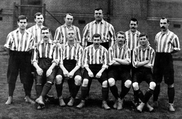 Photograph showing the Sheffield United Football team of the 1901-1902 season. That year they beat Southampton to win the F.A. Cup. The players photographed were: Standing, left to right: B. Wilkinson, H. Johnson, H. Thickett, W. Foulke, P. Boyle, G