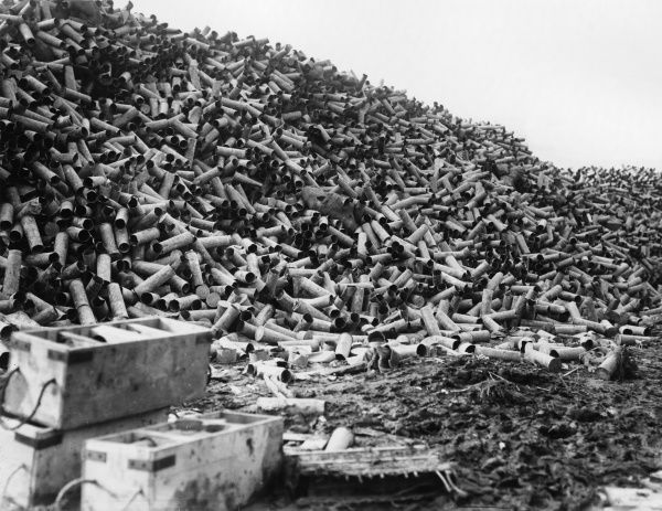 A large dump of empty shell cases at Fricourt, a village captured by the British on the 2 July, during the opening phase of the Somme campaign