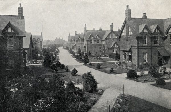 View of the 'village street' at Shenley Fields Cottage Homes, established in the 1880s by the King's Norton Union to house pauper children away from the workhouse. As well as the ten 'cottages', each of which housed 20-30 children