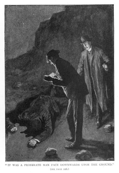 THE HOUND OF THE BASKERVILLES Holmes and Watson discover 'a prostrate man...&#39