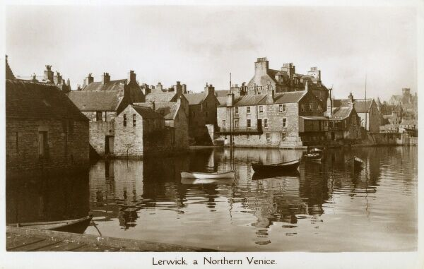 "Lerwick - the capital and main port of the Shetland Islands, Scotland (""A Northern Venice""!). Date: circa 1910s"