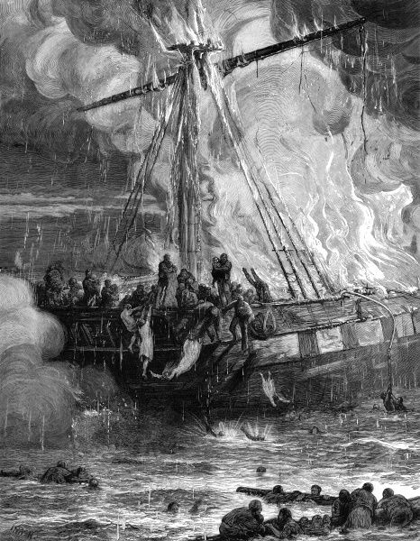 Emigrant ship, the 'Cospatrick' on fire at sea