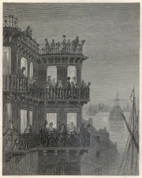 The 'Ship' tavern on a summer evening : guests enjoy the panoramic view of the Thames