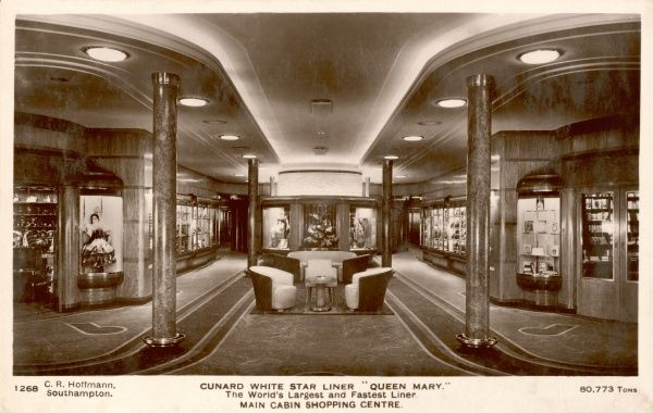 Cunard White Star liner Interior photograph of the shopping centre in the main cabin
