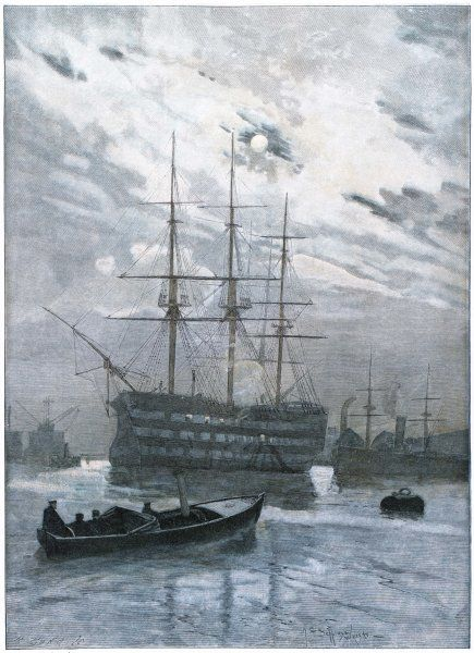Nelson's flagship moored in Portsmouth