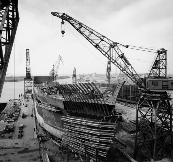 Building the M/S Torne at the Shipyard, Landskrona, 1959. Date: 1959