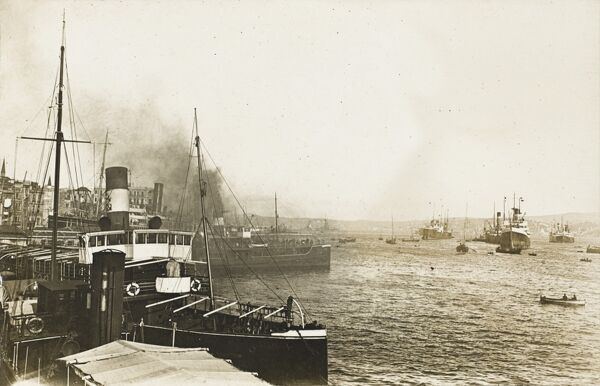 Shipping in the harbour at Constantinople, Turkey, showing H.M.S. Centurion and Benbow (in the distance)