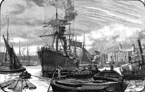 Engraving showing a large steamship, several 'lighters' and a paddle-steamer in the Pool of London, 1882. The Tower of London is visible on the right