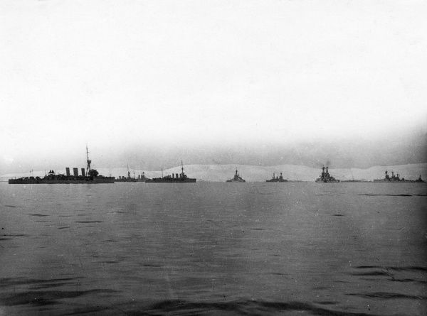 View of Scapa Flow in the Orkney Islands, Scotland, with various ships in the distance. Date: 20th century