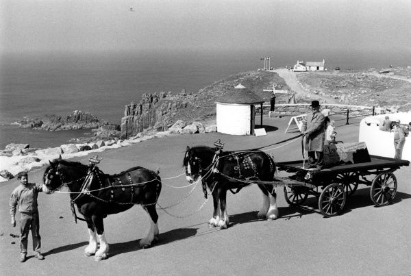 Shire horses and a dray at Land's End, Cornwall