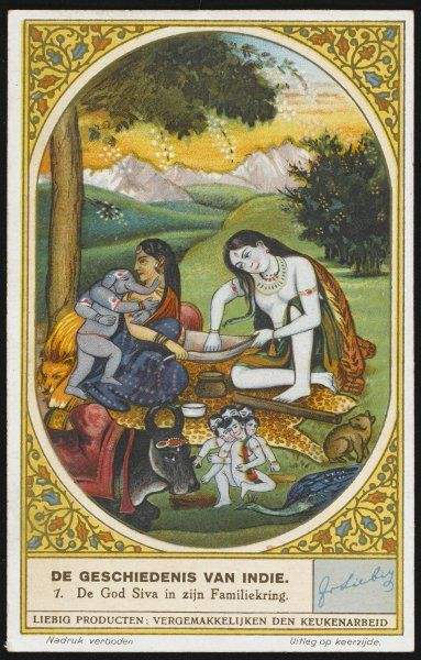 Shiva, a very mixed-up character, is a ruthless destroyer, but also a devoted family man, here with wife Parvati and their children Skanda and Ganesha