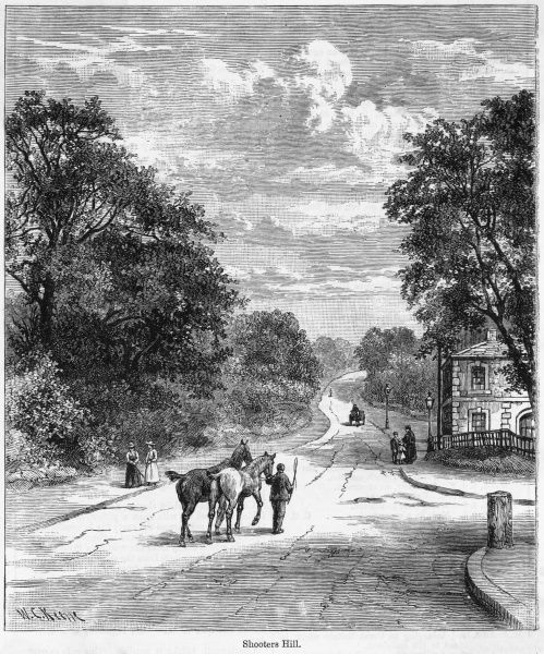 Shooters Hill is named after the archery butts located here in the 16th century : later it was a favourite haunt of highwayman, attacking travelers bound for France