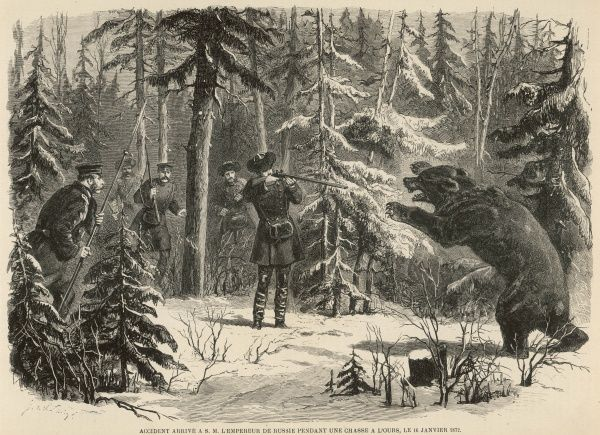 The Emperor of Russia encounters a rather large, fearsome-looking bear whilst out in the woods