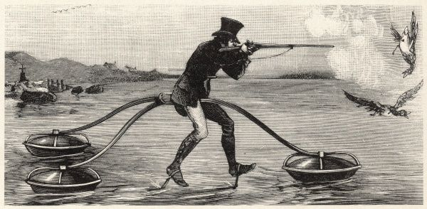 A sporting gentleman in top hat hunts ducks out in the middle of a lake thanks to his remarkable floating aquatic cycle - useability possibly determinate on the level of swell