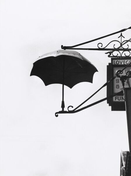 This umbrella sign advertises an umbrella makers in Reading, Berkshire