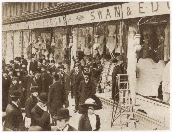 The windows of Swan & Edgar Ltd smashed by suffragettes
