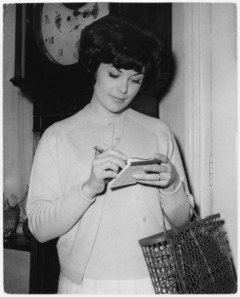 A young housewife checks her shopping list at home before setting out for the shops