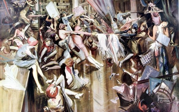 Illustration showing a riotous scene at a fashionable clothing store as a number of female shoppers fight to acquire their next purchase. The original caption for this image was 'The Material-istic Age&#39