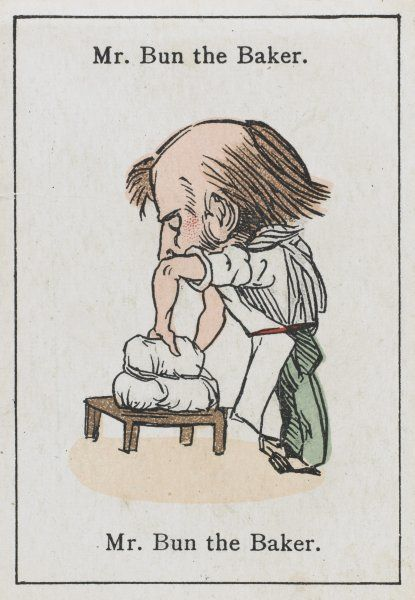 "Mr Bun the Baker, from ""Happy Families"" devised in Britain by Mr Jacques in 1861"