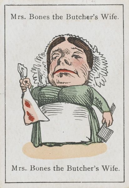"Mrs Bones the Butcher's Wife, from ""Happy Families"" devised by Mr Jacques in Britain in 1861"