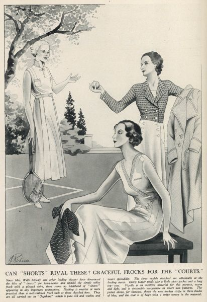 A fashion illustration underlining the great tennis fashion debate of 1932 - Can shorts rival elegants skirts and dresses on the tennis court? It goes on to describe how Mrs Helen Wills Moody and other leading players have denounced the idea