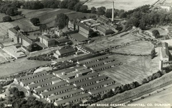 Aerial view of Shotley Bridge Hospital, County Durham. It was originally opened by the Gateshead Union in 1912 as a TB sanatorium (far right of picture), with accommodation for elderly and infirm workhouse inmates added later (upper half of picture)