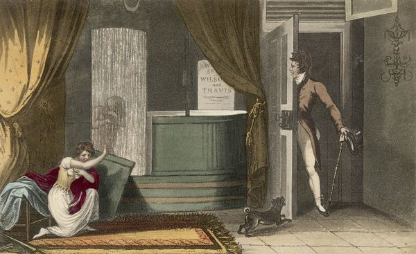 A stylish young gent barges in on someone partaking of a shower bath and a young lady who is undressing - no doubt he wants to know why women always take so long!